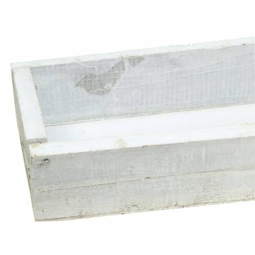 Holztablett Weiß gewaschen 55,5×15,5cm H7cm