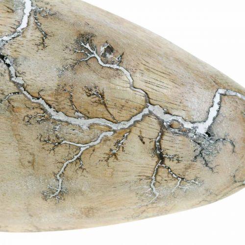 Osterei Mangoholz Natur Weiß gewaschen Osterdeko Holz H16cm
