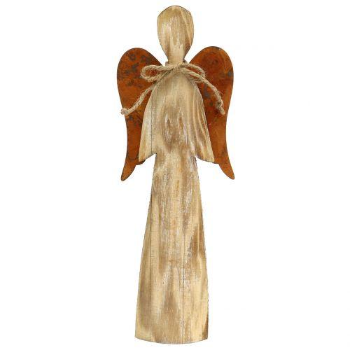 Holzengel mit Rostflügeln 38x13,5cm