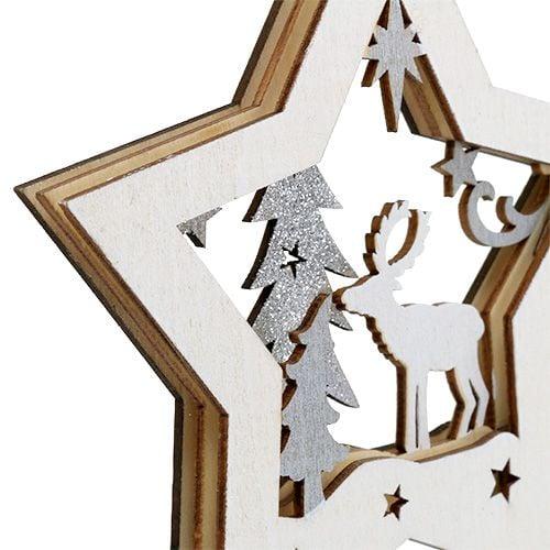 Holzstern mit Motiv zum Hängen 15cm 3St
