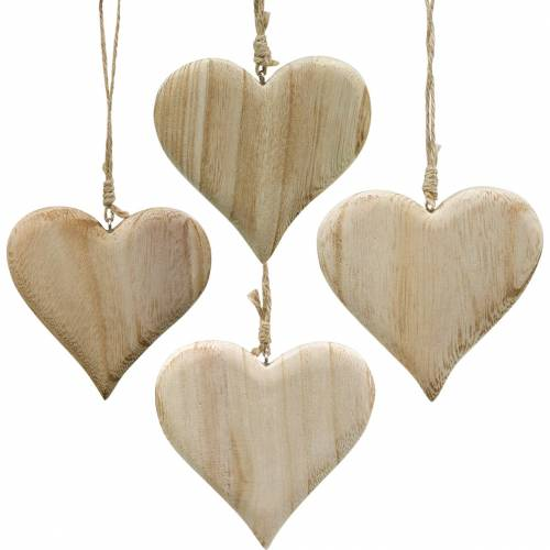 Dekoherz Valentinstag Holz Herz zum Hängen Natur Holzdeko 4St
