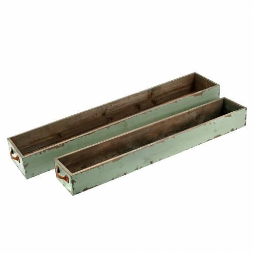 Pflanzgefäß Holzkasten mit Griffen Antikgrün 74×14/66×11cm 2er-Set