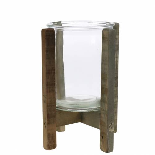 Kerzenhalter Holz mit Glas Ø15cm H18cm