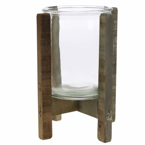 Kerzenhalter Holz mit Glas Ø17cm H22cm