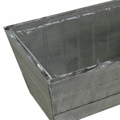 Pflanzgefäß Holzkiste Grau gewaschen 20x12cm H10cm
