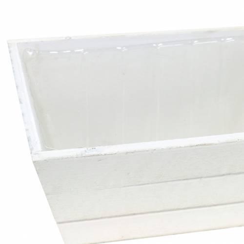 Pflanzgefäß Holzkiste Weiß 20x12cm H10cm