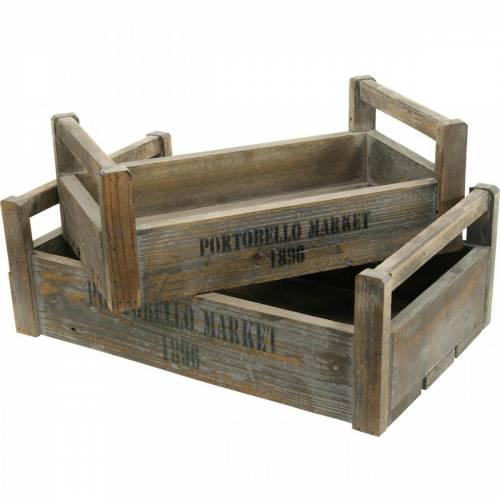 Deko Tablett Vintage Holz Kiste 39,5×23/46,5×28,5cm 2er-Set