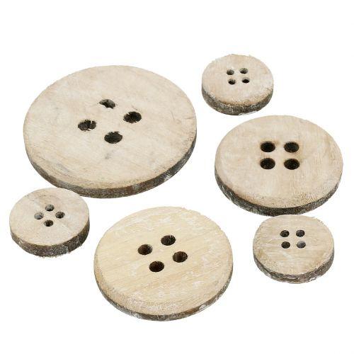 Deko-Knopf aus Holz weißgewaschen 15St