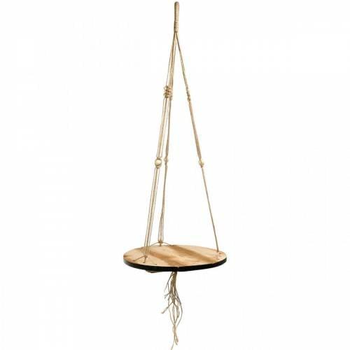 Pflanzenschaukel, Blumentablett am Seil, Hängeampel mit Makramee Ø34cm L84cm