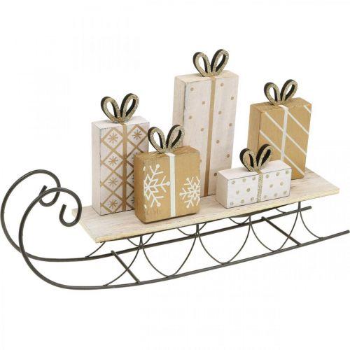 Schlitten mit Geschenken, Advent, Deko für Weihnachten L37,5cm H23cm