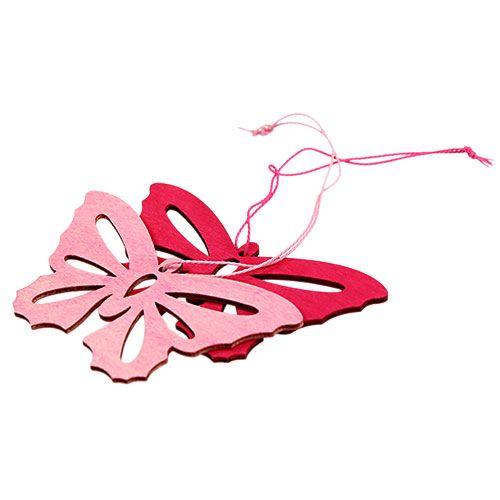 Holzschmetterlinge zum Hängen Pink 8cm - 10cm 24St