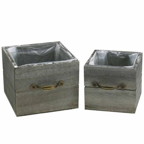 Pflanzgefäß Holzschublade Grau gewaschen 15×15cm/12×12cm 2er-Set
