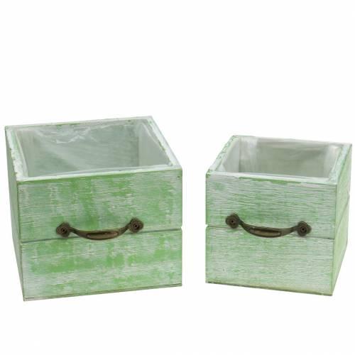Pflanzgefäß Holzschublade Hellgrün 15x15/12x12cm 2er-Set