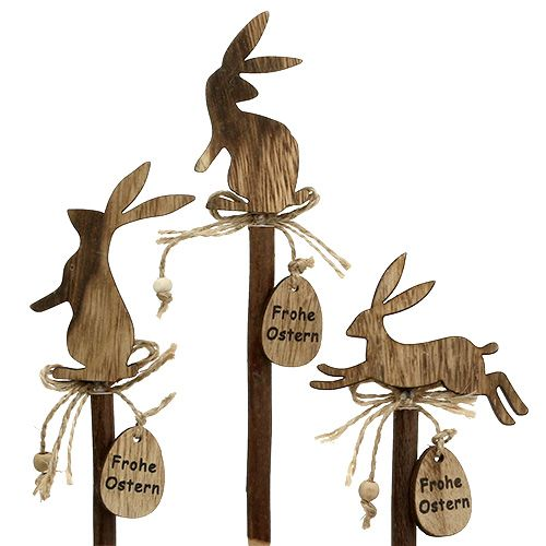 """Holzstecker Hase """"Frohe Ostern"""" 23cm 6St"""