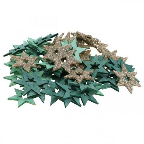 Streudeko Holz Stern Grün, Glitter Weihnachtsstern Mix 4cm 72St