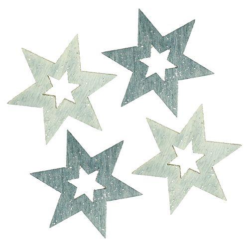 Holzsterne 4cm Grau mit Glitter 72St preiswert online kaufen