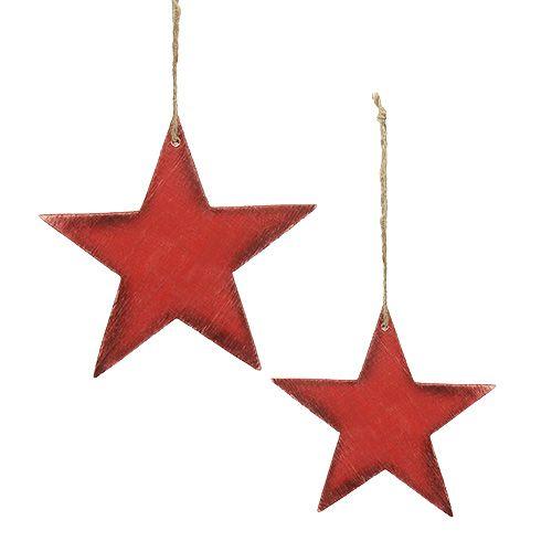 Holzsterne zum Hängen 9/13cm Rot 12St preiswert online kaufen