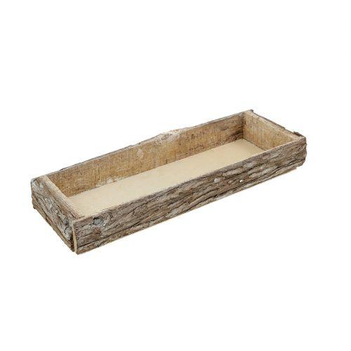 Holztablett mit Baumrinde Natur 40cm x 15cm x 5cm