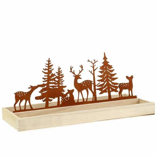 Holztablett Wald mit Tieren 35cm x 15cm