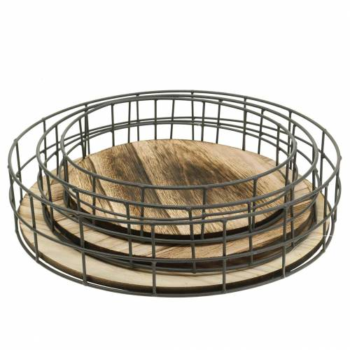 Deko Tablett rund Holz, Metall Natur Ø25/30/35cm 3er-Set