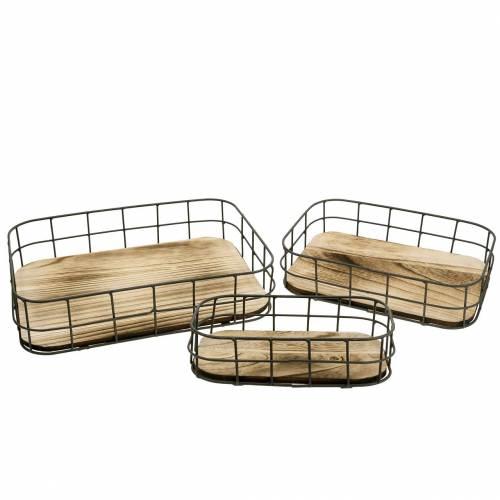 Holz-Tablett mit Metallrand 45cm 35×25/29×19/42×14cm 3er-Set