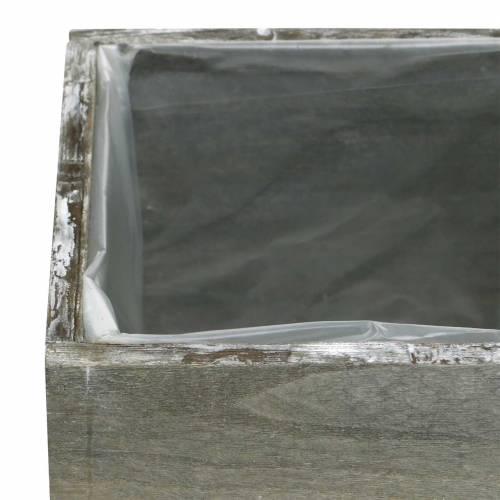 Pflanzgefäß Holz Grau Weiß gewaschen 10×10cm/14×14cm 2er-Set