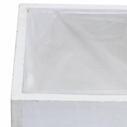 Pflanzgefäß Holz Weiß 10×10cm/14×14cm 2er-Set