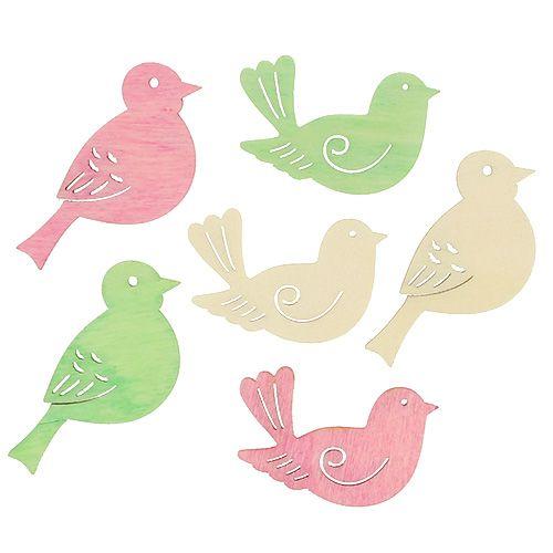 Holzvögel 4cm - 4,5cm Pastell sortiert 72St