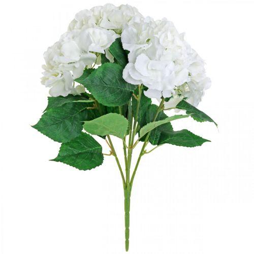 Deko Strauß Hortensien Weiß Kunstblumen 5 Blüten 48cm
