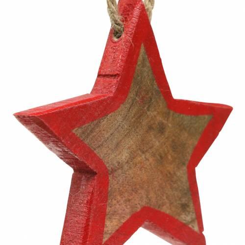 Weihnachtsdekoration Holzstern Natur/Rot 8cm 15St