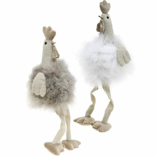 Osterdeko Hühnerpaar, Kantensitzer, Frühling, Dekohühner mit Federn 2St