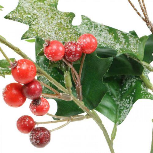 Künstlicher Ilexzweig, Winterbeere, Weihnachtsdeko, Stechpalme beschneit Grün, Rot L63cm