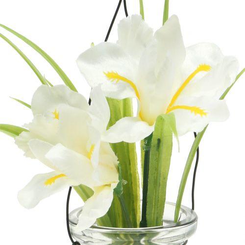 Schwertlilie Weiß im Glas zum Hängen H21,5cm