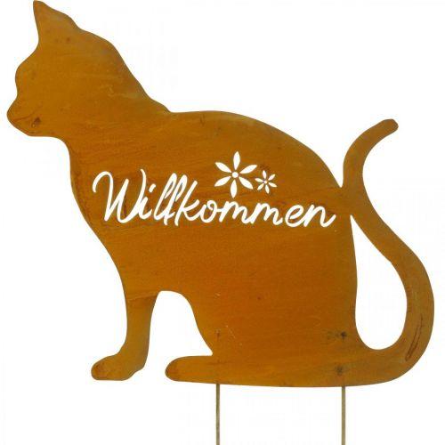 Metallstecker Katze, Willkommensschild, Beetdeko, Gartenstecker Edelrost, Rost-Deko H50cm