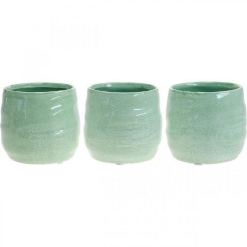 Keramikübertopf, Pflanzgefäß, Blumentopf Wellenmuster Ø12,5cm 3St