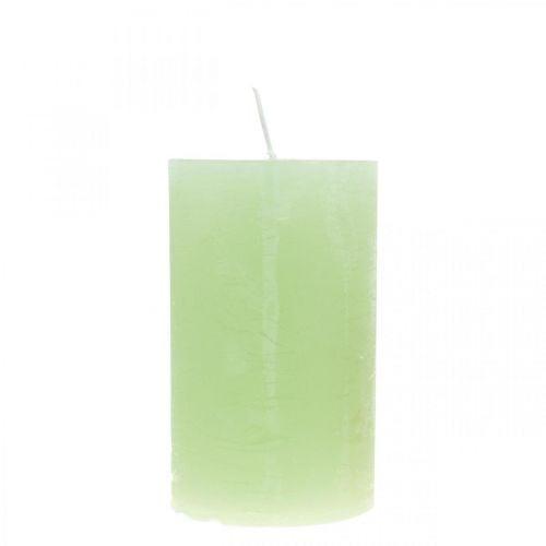 Stumpenkerzen durchgefärbt Hellgrün 60×100mm 4St