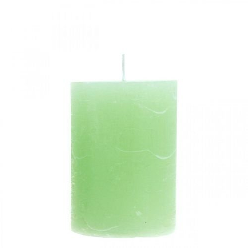 Stumpenkerzen durchgefärbt Hellgrün 70×100mm 4St