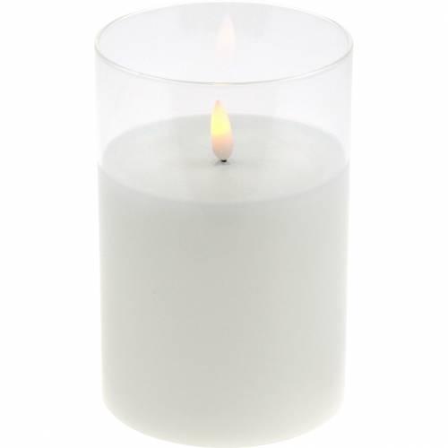 Deko-Windlicht LED-Kerze im Glas Echtwachs Ø10cm H10cm