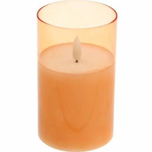 LED-Kerze im Glas Echtwachs Orange Ø7,5cm H12,5cm