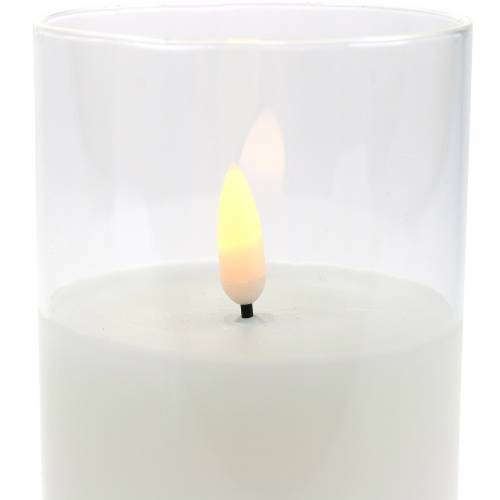 LED-Kerze im Glas Echtwachs Weiß Ø7,5cm H10cm