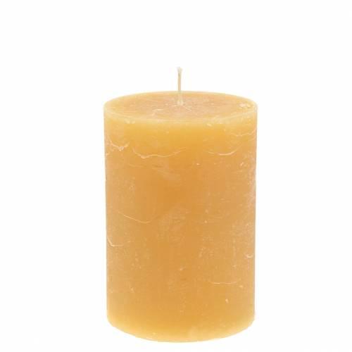 Durchgefärbte Kerzen Honigfarben 85×120mm 2St
