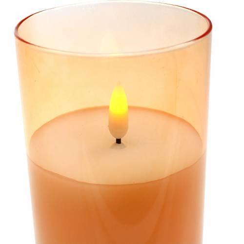 LED-Kerze im Glas Echtwachs Orange Ø7,5cm H10cm