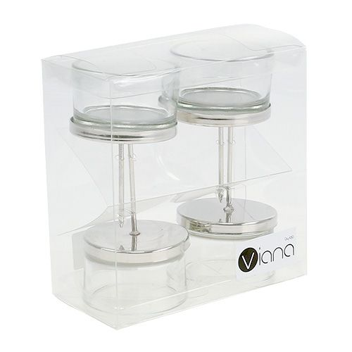 Kerzenhalter mit glas silber 4st preiswert online kaufen for Glas kerzenhalter