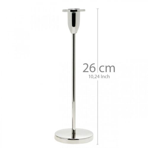 Kerzenhalter Silbern Metall Deko Kerzenständer modern H26cm
