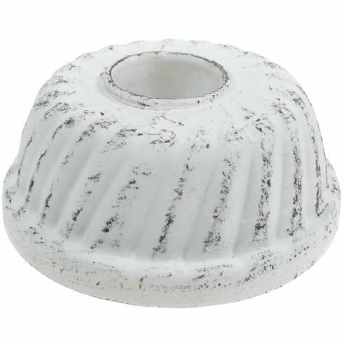 Kerzenhalter Gugelhupf-Backform Shabby Chic Weiß Ø7,2cm H3cm