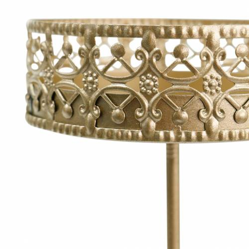 Filigraner Kerzenhalter zum Stecken Golden Ø6,4cm H12,5cm 4St Antik-Optik