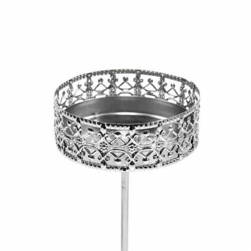 Filigraner Kerzenhalter zum Stecken Silbern Ø6,4cm H12,5cm 4St Antik-Optik
