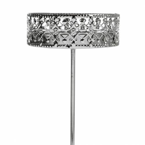 Florale Kerzenhalter zum Stecken Silbern Ø7,4cm H12,5cm 4St Antik-Optik