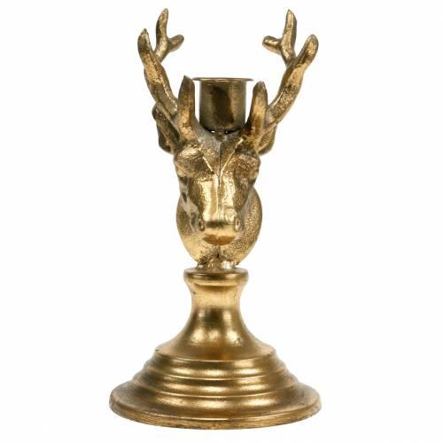 Kerzenleuchter Antik-Optik Hirschkopf Golden Metall 19,5cm