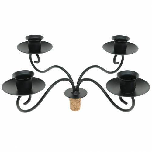 Kerzenhalter für Flasche Vierarmig Schwarz Ø28cm